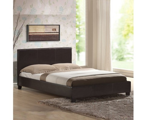 DOUBLE  MONDEO LEATHERETTE  BED  - BROWN