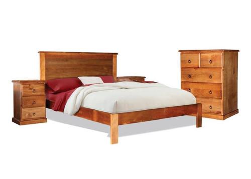 PINEHURST SINGLE OR KING SINGLE  3 PIECE TALLBOY BEDROOM SUITE - BLACKWOOD