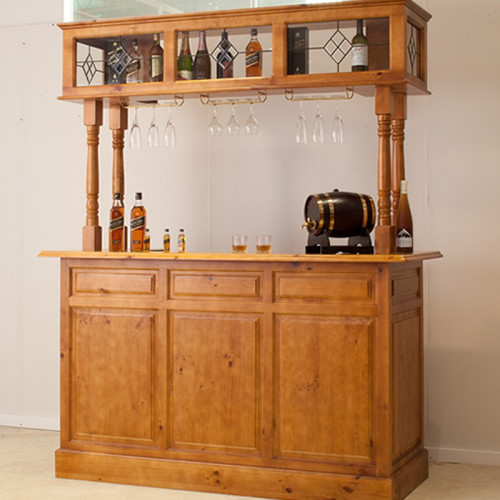 AUSSIE MADE (Q/D) 4 POST BAR WITH FRIDGE SPACE & DIAMOND LEADLIGHT - ASSORTED COLOURS