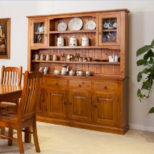 MARISSA (WBH-4/6) BUFFET AND HUTCH WITH 4 DRAWER / 6 DOOR AND DIAMOND LEADLIGHT - 2000(H) x 1850(W) - ASSORTED COLOURS