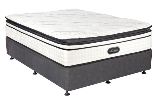 QUEEN HERMIAN POCKET SPRING ENSEMBLE (MATTRESS & BASE) (LZ-22001) - WITH SERIES ONE BASE IN BLACK LINEN FABRIC - EXTRA FIRM