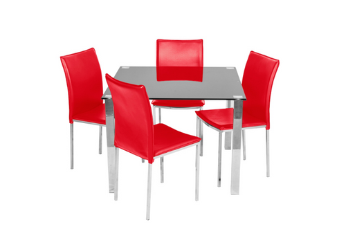 KIAMA 5 PIECE DINING SETTING WITH 1000(L) x 1000(W) SQUARE TABLE - RED