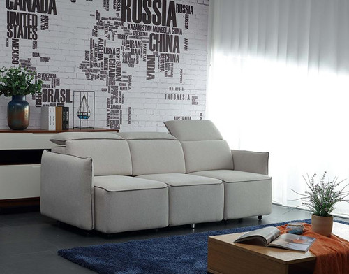 EMORY  3 SEATER FABRIC UPHOLSTERED WITH RETRACTABLE CHAISE- CREAM
