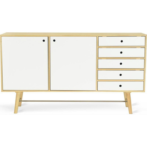AXTEL SCANDINAVIAN 2 DOOR / 5 DRAWER BUFFET 1800(W) -  OAK / WHITE LACQUER