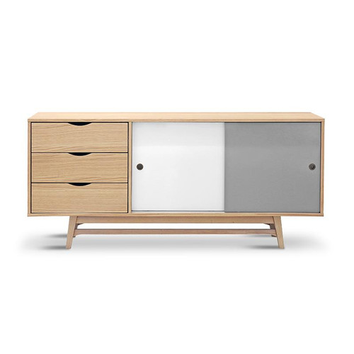 LAYLA  SCANDINAVIAN 2 DOOR / 3 DRAWER BUFFET 1850(W) -  NATURAL / MATT WHITE