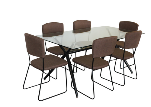 ZETLAND 7 PIECE DINING SETTINGS WITH HUNT  CHAIRS -1600(L) X 900(W) TABLE - BLACK