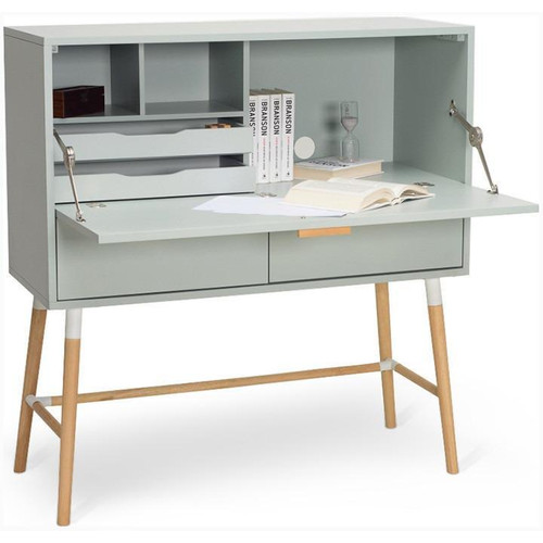 AROD  MODERN WORKING  DESK WITH  2 DRAWERS AND SHELVES - GREY / WHITE