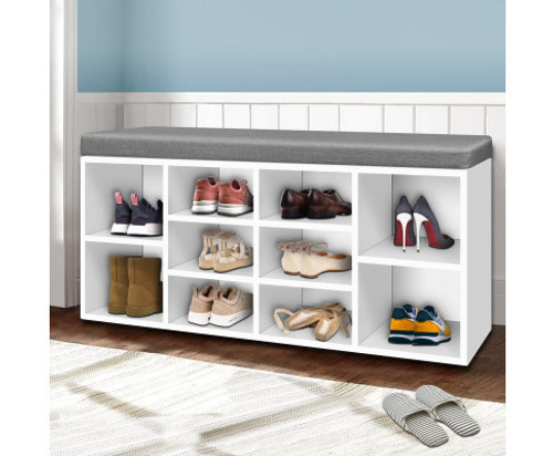 CACAU FABRIC SHOE BENCH WITH STORAGE CUBES - WHITE