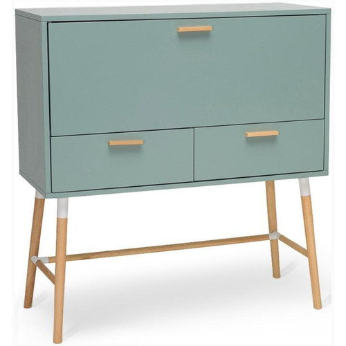 AROD  MODERN WORKING  DESK WITH  2 DRAWERS AND SHELVES -  SAGE GREEN