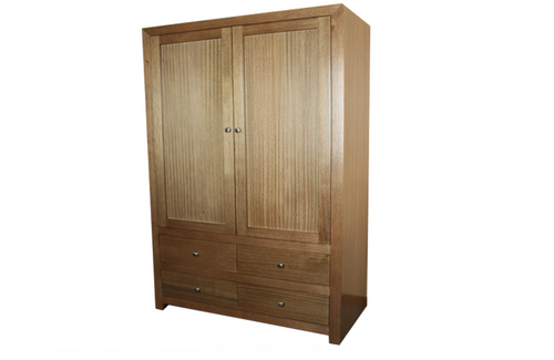 MORGAN 2 DOOR WARDROBE WITH 4 DRAWERS - 1800(H) X 1200(W) - ASSORTED COLOURS