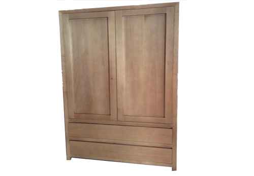 MORGAN 2 DOOR WARDROBE WITH 2 DRAWERS - 1800(H) X 1000(W) - CLEAR LACQUER - (COLOUR NOT AS PICTURED)