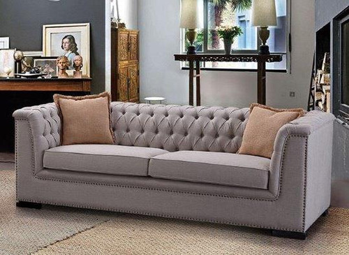MADELINE 3 SEATER + 2 SEATER FABRIC LOUNGE SUITE - NATURAL
