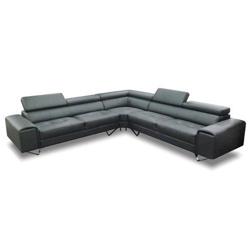 BELLAGIO LEATHER CORNER LOUNGE ( 2S + CORNER+ 2S)   - BLACK