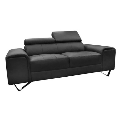 BELLAGIO 2 SEATER LEATHER SOFA   - BLACK