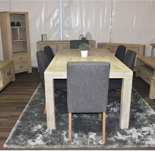 HUDSON  7 PIECE DINING SETTING WITH MATCHING COLUMBIA STORM CHAIRS -   1800(L) X 1000(W)-  MADSEN GREY