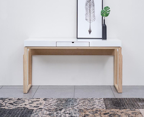 AJAX CONSOLE / HALL TABLE - 1520(W) - NATURAL ASH / HIGH GLOSS WHITE