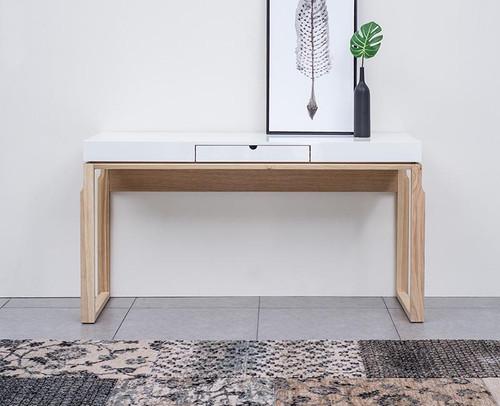 AJAX CONSOLE / HALL TABLE - 1520(W) - NATURAL ASH / HIGH GLOSS WHITE
