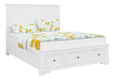 QUEEN  DURANO BED PANEL BED WITH FOOTEND STORAGE DRAWERS (22-9-5-14-14-1)- WHITE