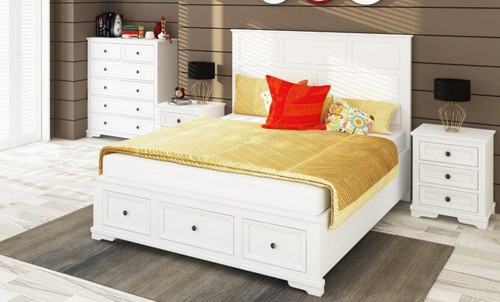 DURANO KING 3 PIECE BED PANEL BEDSIDE BEDROOM SUITE - (22-9-5-14-14-1) - WHITE
