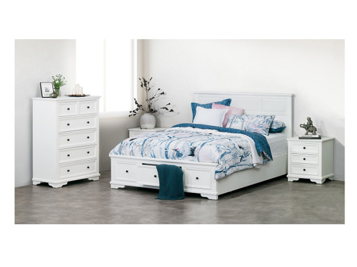 CHANELLE KING 4 PIECE (TALLBOY) BEDROOM SUITE (22-9-5-14-14-1) - WHITE