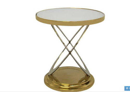 IVY SIDE TABLE - WHITE TEMPERED GLASS  -GOLDEN  METAL BASE