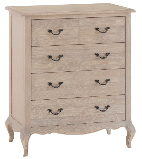 FABIAN 5 DRAWER OAK TALLBOY (FR-2O3) - 1100(H) X 850(W) - NATURAL