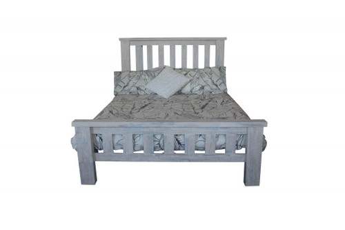 DOUBLE  MONTEGO BAY SOLID TIMBER  BED    - WHITEWASH