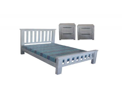 MONTEGO BAY   DOUBLE  OR QUEEN 3 PIECE BEDSIDE BEDROOM SUITE    - WHITEWASH