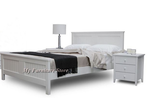 DOUBLE OR QUEEN BRIGHTON 3 PIECE BEDSIDE BEDROOM SUITE - WHITE