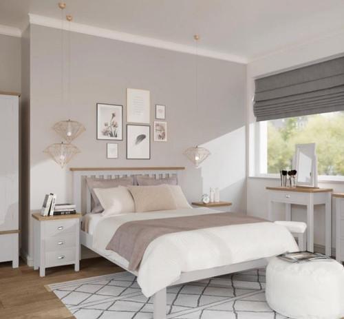 KING SPENCER 3 PIECE BEDSIDE BEDROOM SUITE - BRIGHT WHITE  / LIGHT OAK (2 TONE)