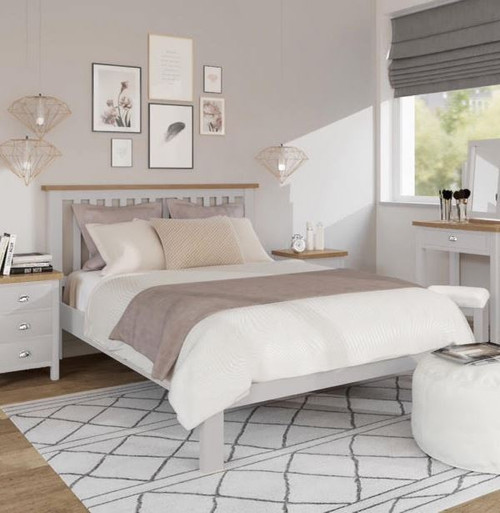 SPENCER QUEEN OR DOUBLE  3 PIECE BEDSIDE BEDROOM SUITE - BRIGHT WHITE  / LIGHT OAK (2 TONE)