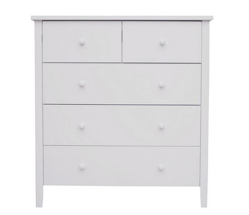 BRIGHTON 5 DRAWER TALLBOY - 1015(H) X 940(W) - WHITE OR BLACK