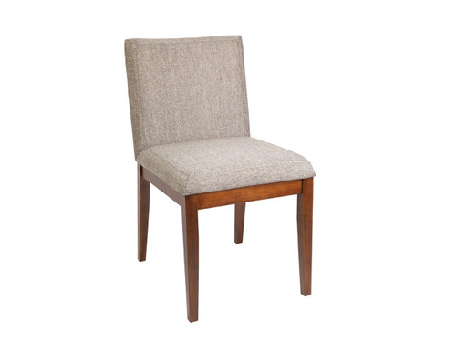 CARLA FABRIC UPHOLSTERED DINING CHAIR  - WALNUT+ BEIGE