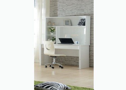 EMERTON (MODEL 4-5-12-20-1) STUDENT DESK WITH HUTCH - MOCHA OAK, CHARCOAL OAK & HIGH GLOSS WHITE
