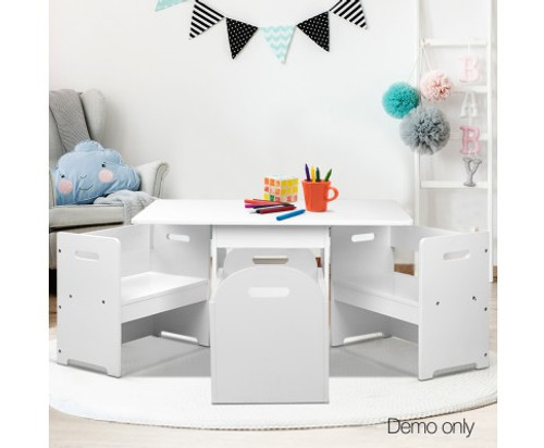 MONA KIDS TABLE AND CHAIR SET ( FUNKI-RUDY-WH) - WHITE