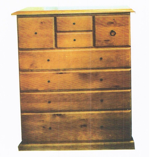 CRYSTAL 8 DRAWER TALLBOY - 1200(H) X 900(W) - TOP SPLIT - GOLDEN BROWN (AL1)