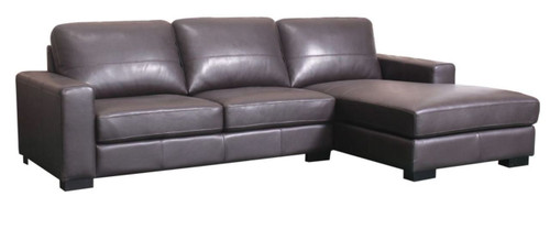JENSEN 2.5  LEATHER SEATER WITH CHAISE - CHOCOLATE