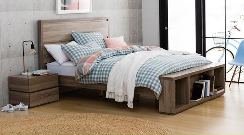 CUBIST   QUEEN     3  PIECE  BEDSIDE   BEDROOM SUITE- (MODEL:LS-118) MOCHA