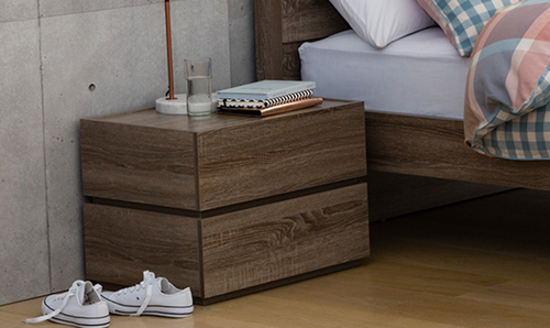 CUBIST 2 DRAWERS STACK OVER   BEDSIDE TABLE (MODEL:LS-118) - HIGH GLOSS WHITE (NOT AS PICTURED)