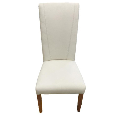 SAFARI LEATHER  UPHOLSTERED DINING CHAIR T - WHITE  / NATURAL