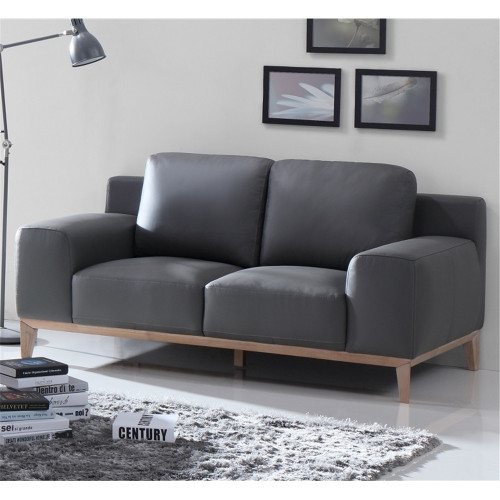 AMELIA 2 SEATER   LEATHER  SOFA  - BLACK