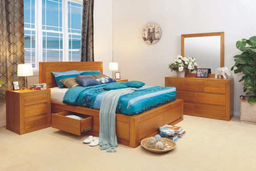 CLAREMONT KING 6 PIECE (THE LOT) BEDROOM SUITE WITH 4 UNDER BED DRAWERS - ASSORTED COLOURS