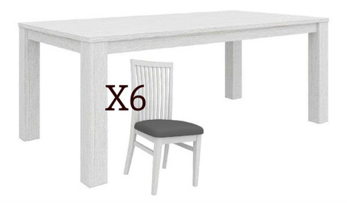 MILDRED 7 PIECE DINING SETTING  (6-12-15-9-14-1) - 1900(W) x 1000(D) - WHITEWASH