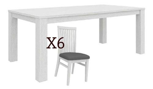 MILDRED 7 PIECE DINING SETTING  (6-12-15-9-14-1) - 1900(L) x 1000(W) - WHITEWASH