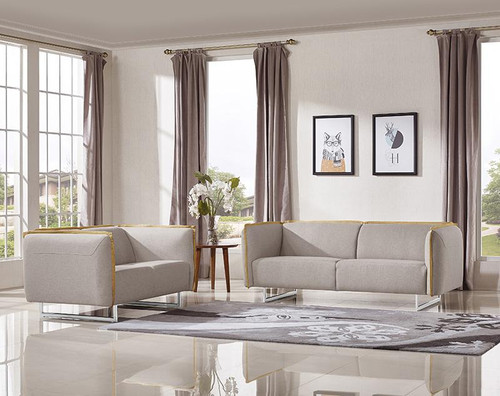 PEYTON FABRIC UPHOLSTERED  LOUNGE  SUITE ( 3S  + 2 S)  - LIGHT GREY  (KIT#111A)Y