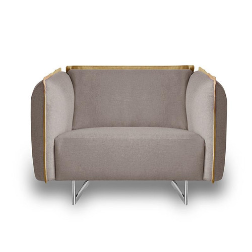 PEYTON FABRIC UPHOLSTERED   SINGLE SEATER SOFA  CHAIR - LIGHT GREY