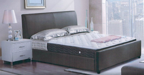 DOUBLE  MUNICH  LEATHERETTE OR FABRIC UPHOLSTERED BED -  AS PICTURED