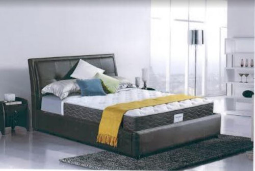 QUEEN   MONTREAL LEATHERETTE OR FABRIC UPHOLSTERED BED -  AS PICTURED