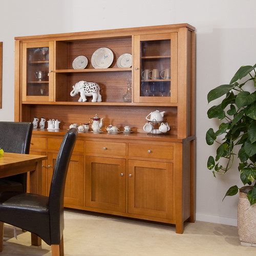 FAIRHOLM TASSIE OAK (TAPERED LEGS) BUFFET AND HUTCH WITH 4 DRAWERS / 6 DOORS - 2035(H) x 2000(W) - ASSORTED COLOURS