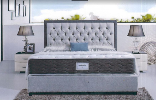 DOUBLE MILAN  FABRIC  OR LEATHER UPHOLSTERED BED -  AS PICTURED